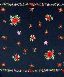 Black Multicolor  Large Silk Shawl L/SS