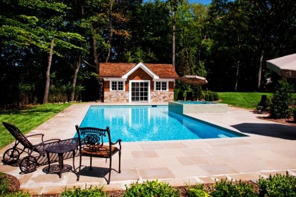 Architecture   Awesome Traditional Back Yard With Classic Blue Pool In  Simple Swimming Pool Designs Near The Custom Pool House: Amazing Swimming  Pool ...