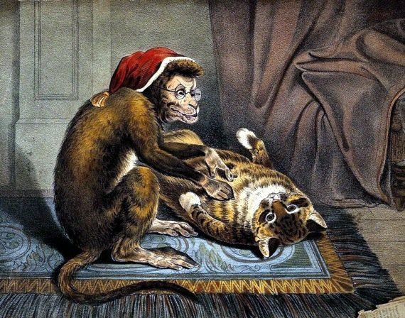 "A monkey physician examining a cat patient for fleas, Doctors office decor, medical art,  11x14"" Premium  poster art print by PreciousMemoriesOne on Etsy #doctoroffice"