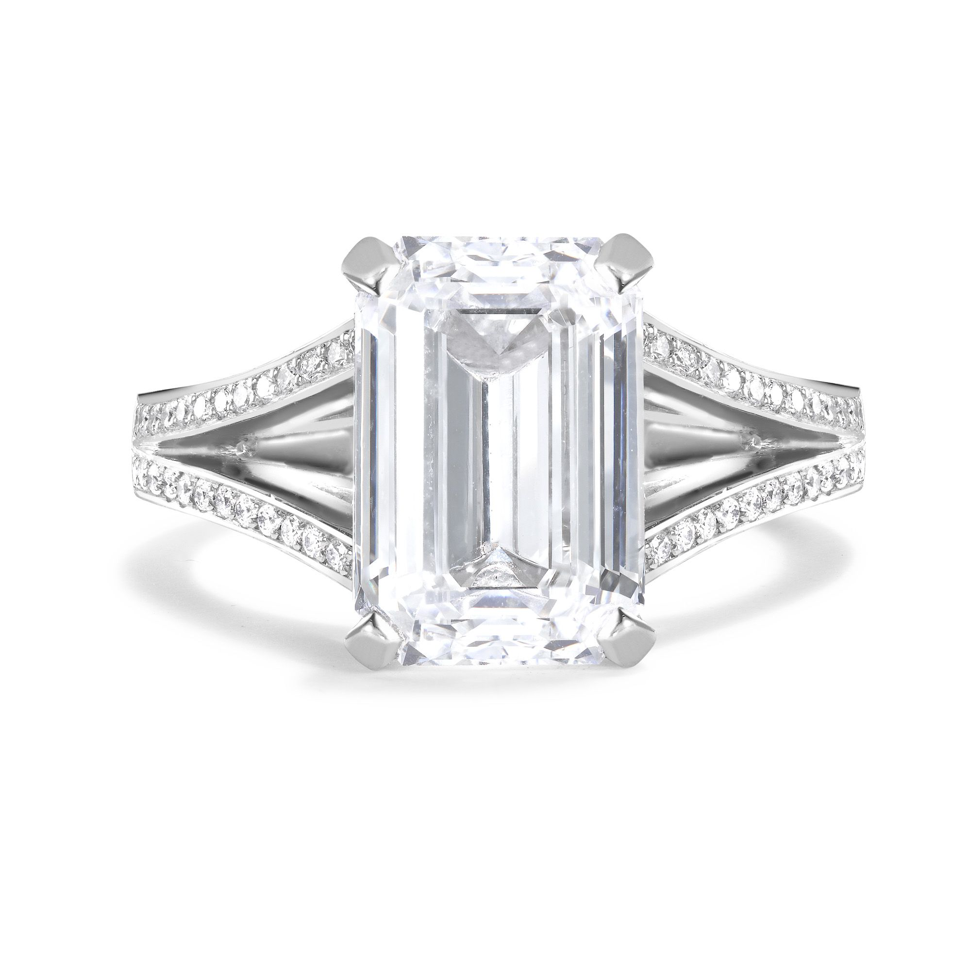 Emerald Cut Split Shank Diamond Ring | Bridal Jewelry | Pinterest