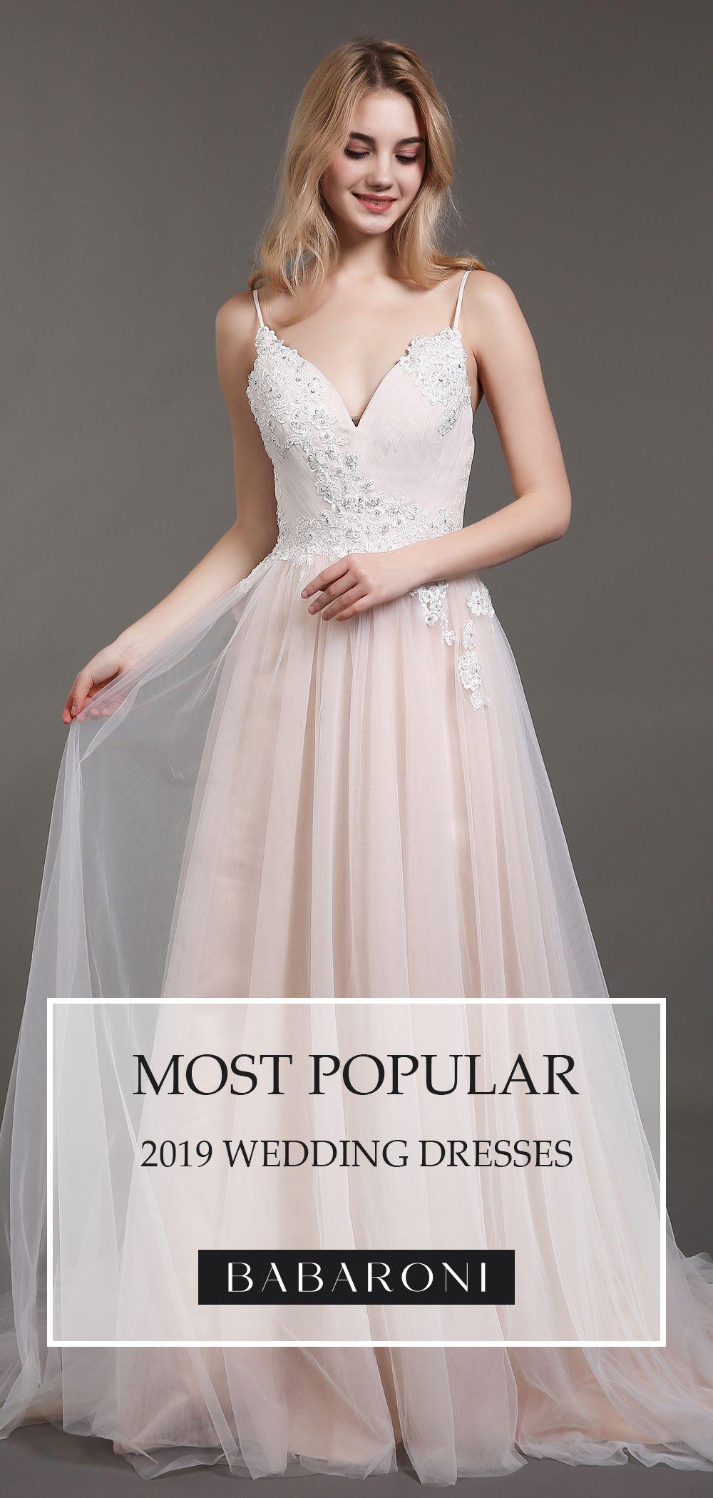 Babaroni Esther Lace Bridal Gown Dresses Spaghetti Strap Wedding Dress [ 2100 x 1000 Pixel ]