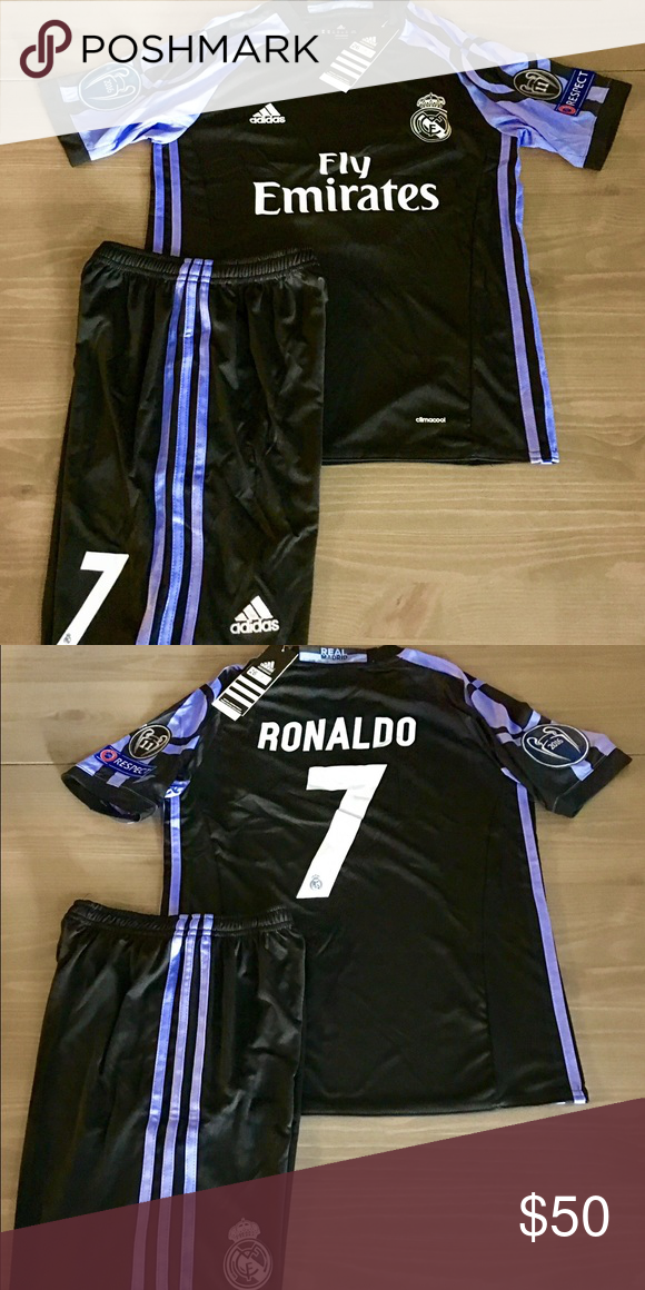 a93603a3c21 Kids Real Madrid black Ronaldo #7 adidas soccer Kids kit Real Madrid 16/17 away  black Ronaldo #7 champions league patches adidas soccer jersey+short Size:  ...