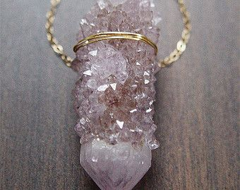 Amethyst Crystal Necklace, Layering Gold Necklace, Rough Amethyst Necklace