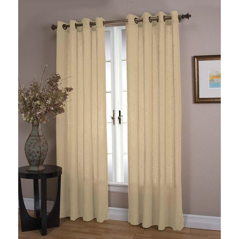 Double Width Sheer Linen Single Window Curtain Panel With Grommets Natural Plow Hearth Brown Insulated