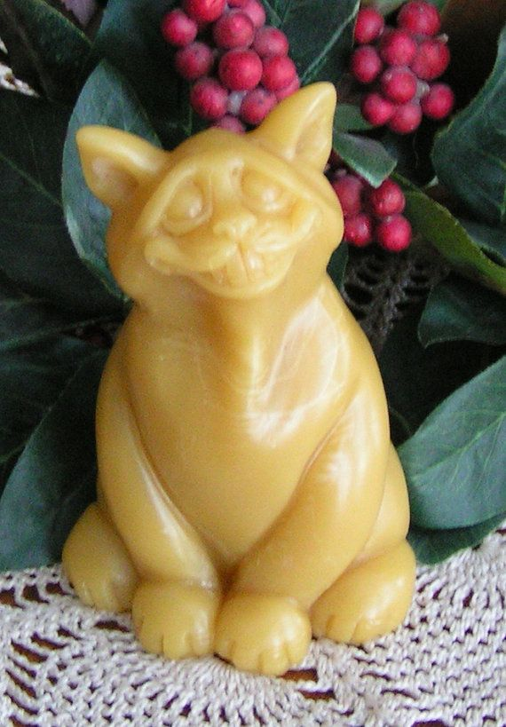 Beeswax Candle Grinning Fat Cat by GardenGateDesign on Etsy, $8.00