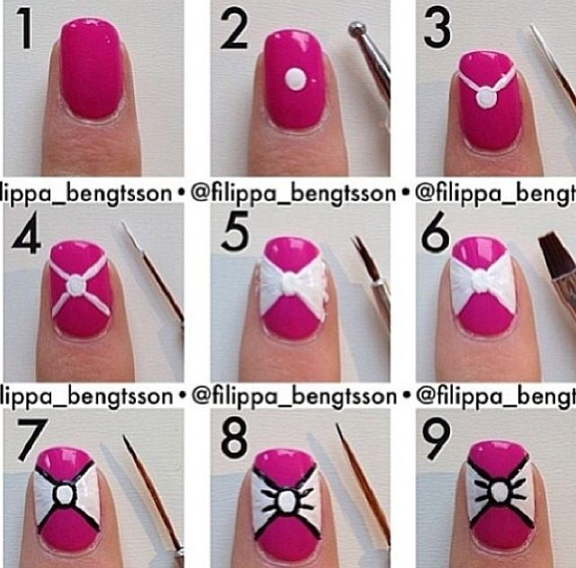 The Easiest Way To Design A Bow On Your Nail Bow Nail Art Bow Nail Designs Nail Art Tutorial