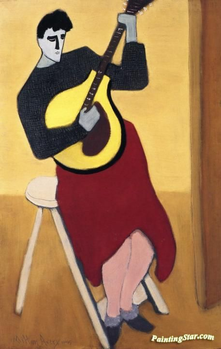 Mando-cello Player Artwork by Milton Avery Hand-painted and Art Prints on canvas…