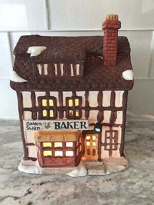 Department 56 Shops of Dickens Village Golden Swan Baker Retired #department56