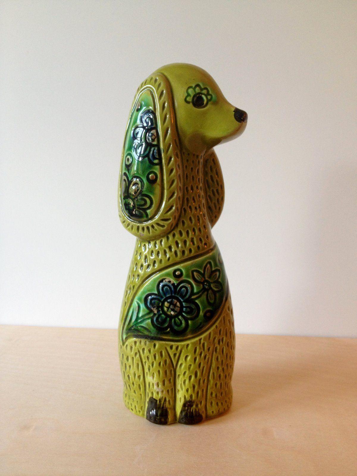 Vintage Green Ceramic Dachshund Figurine