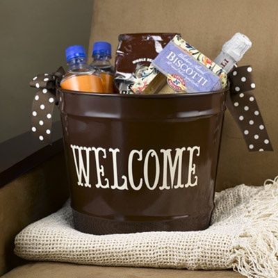 Welcome Baskets for out of town guests. Looks simple, add some ...