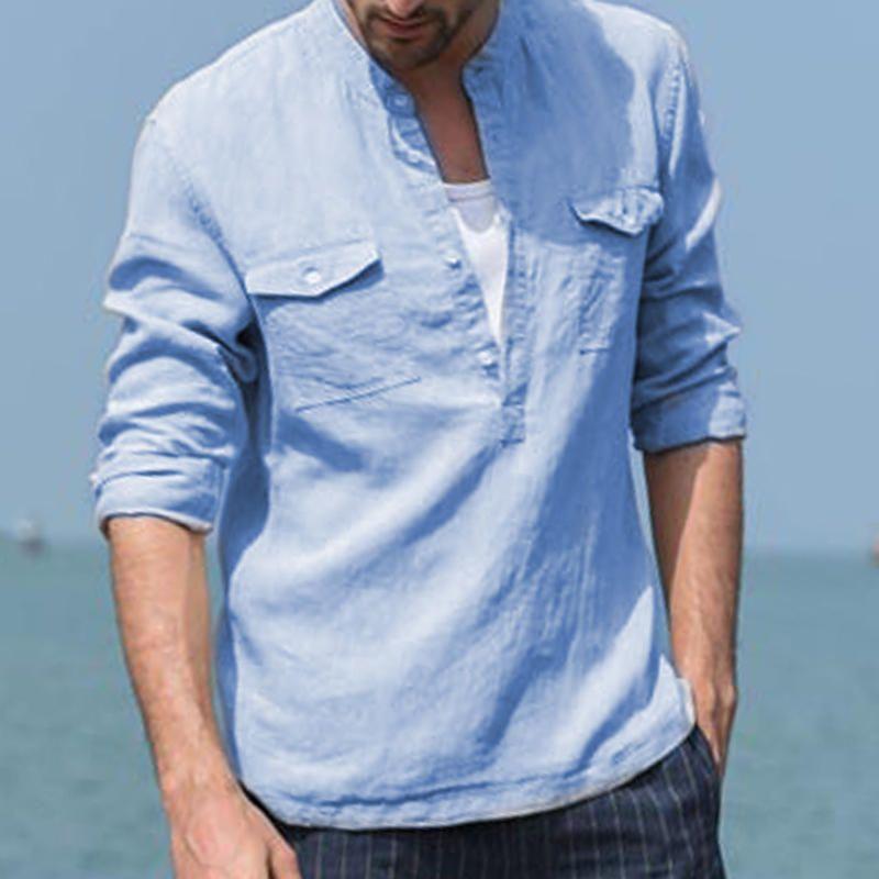 Men S 100 Linen Breathable Stand Collar Double Pockets Casual Long Sleeve Shirts Linen Shirt Men Casual Long Sleeve Shirts Shirts