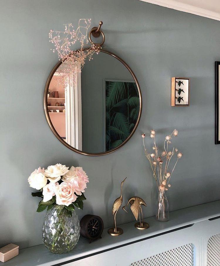 Decoratie Flowers Bloemen Gold Decoration Gouden Decoraties Ronde Spiegel Spiegel Hallway Designs Modern Southwest Decor Home Decor Bedroom