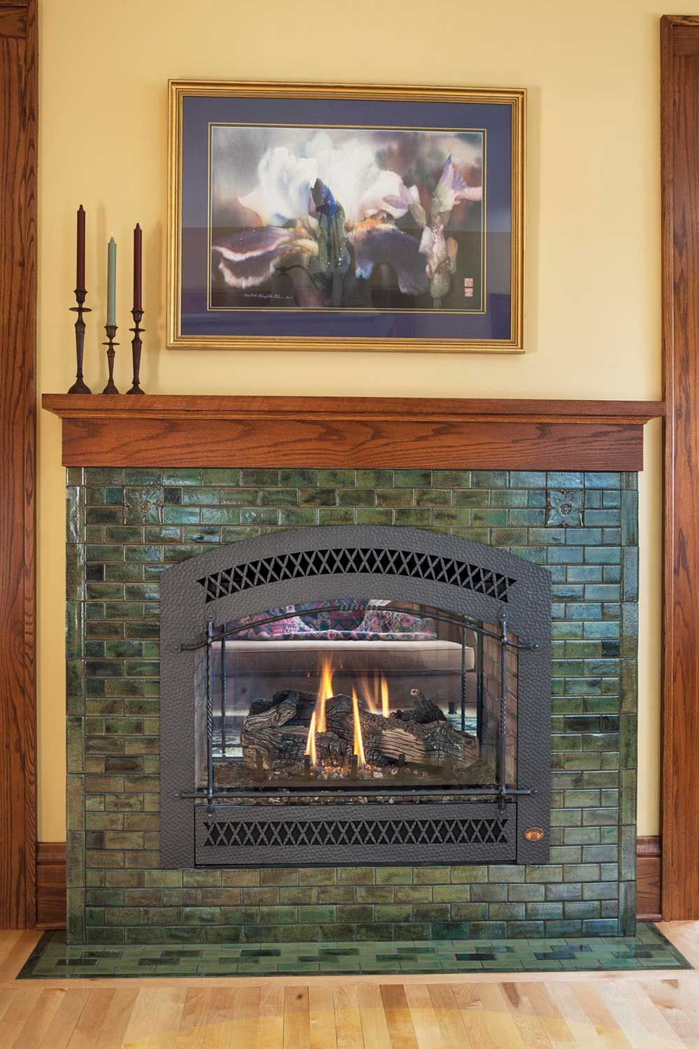 The Hawthorn In Jade Mossarts Crafts Mottled Green Fireplace Fireplace Tile Fireplace Tile Surround Craftsman Style Homes
