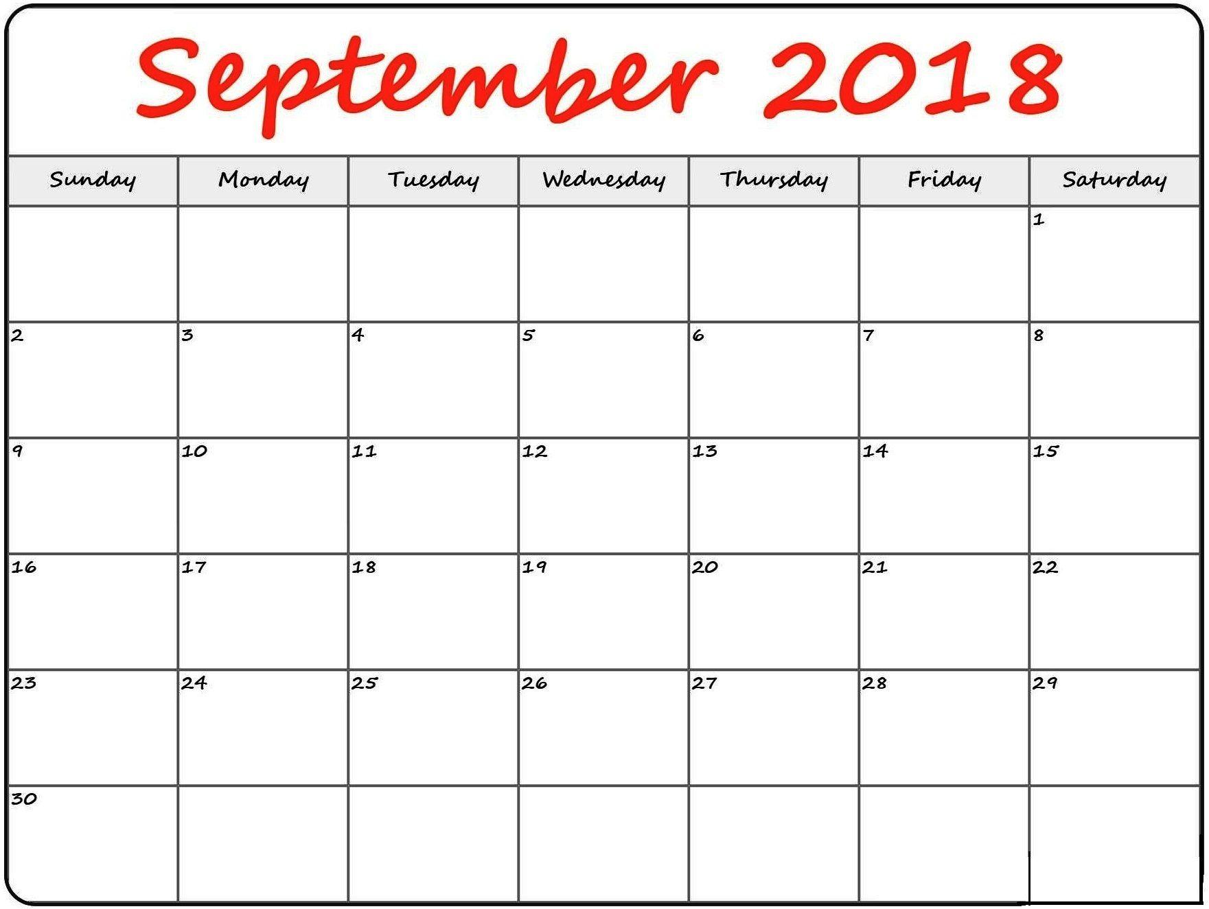 September 2018 Calendar Blank Blank calendar, Calendar