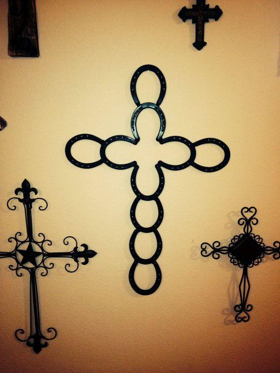 Horseshoe Cross Cross Wall Horseshoes Western Decor Crosses