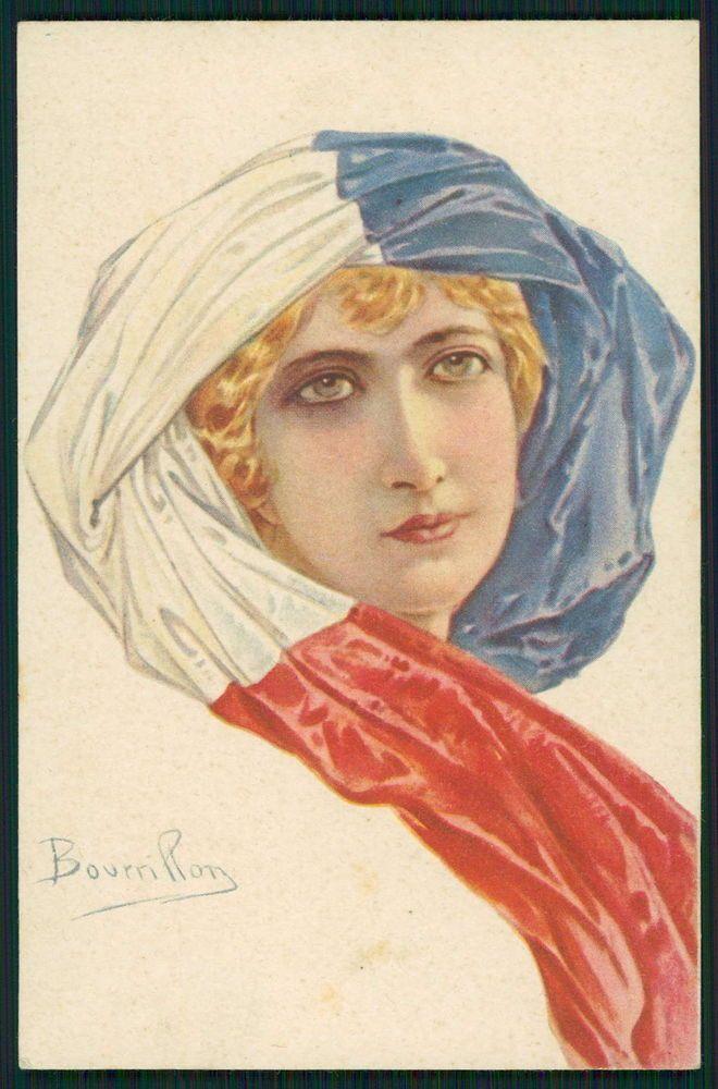art Bourrillon France Patriotic Flag Lady WWI ww1 war original c1915 postcard