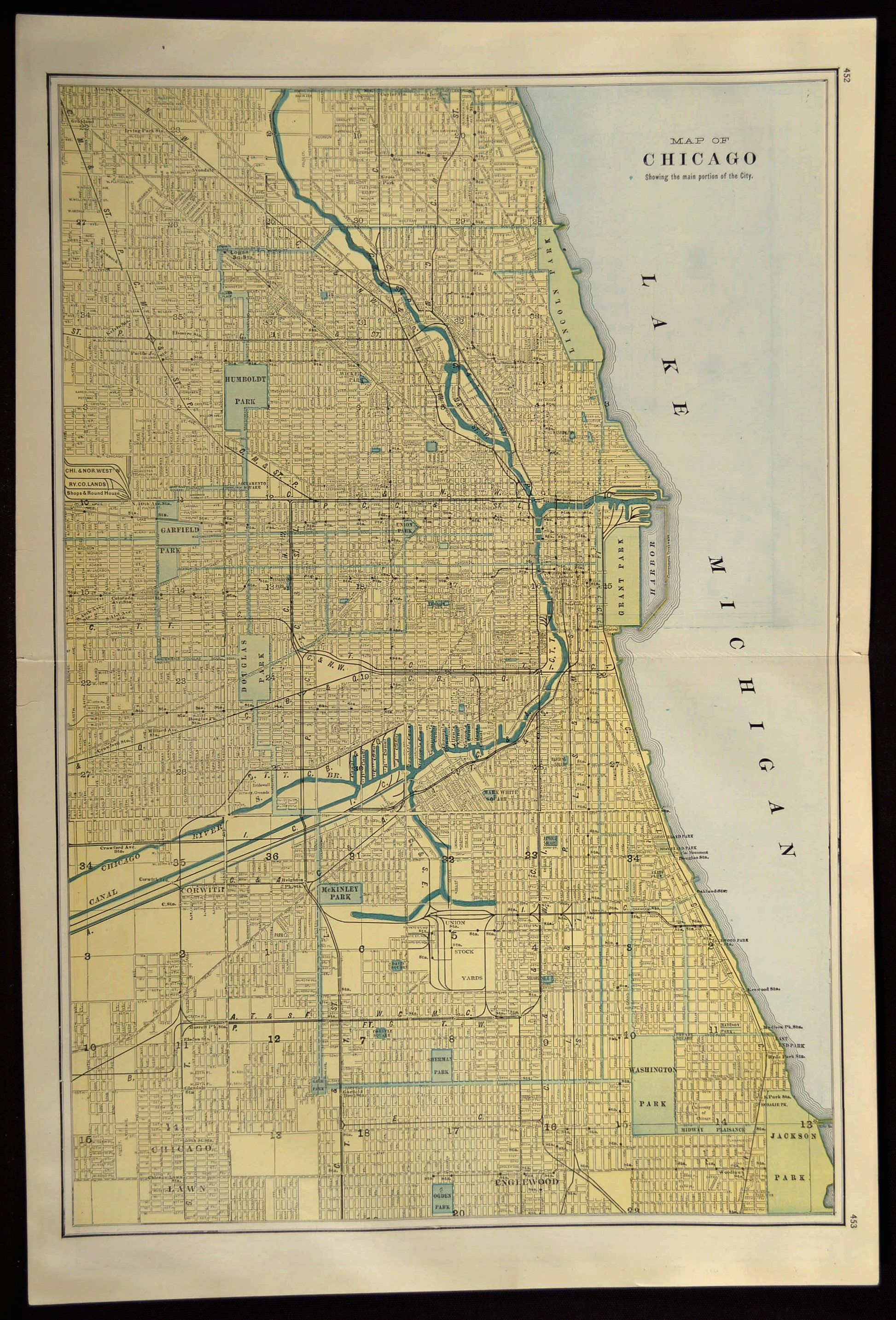 Chicago Map Chicago Street Map LARGE Original Wall Art | Map Wall ...