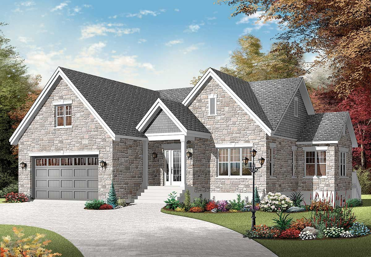 Plan 21980dr Enlarged Boomer Bungalow In 2021 Cottage Plan House Plans European House Plans