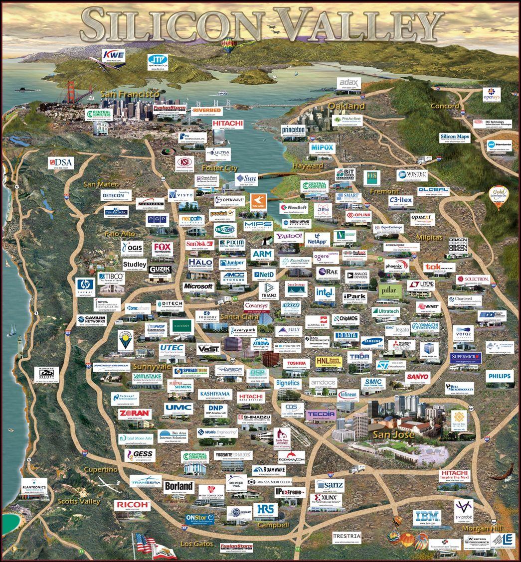 Home of silicon chip innovators: Silicon Valley, California ... Silicon Valley Usa Map on google usa, california usa, san francisco usa, oakland usa, castle usa, san diego usa, sacramento usa, hollywood usa, los angeles usa,