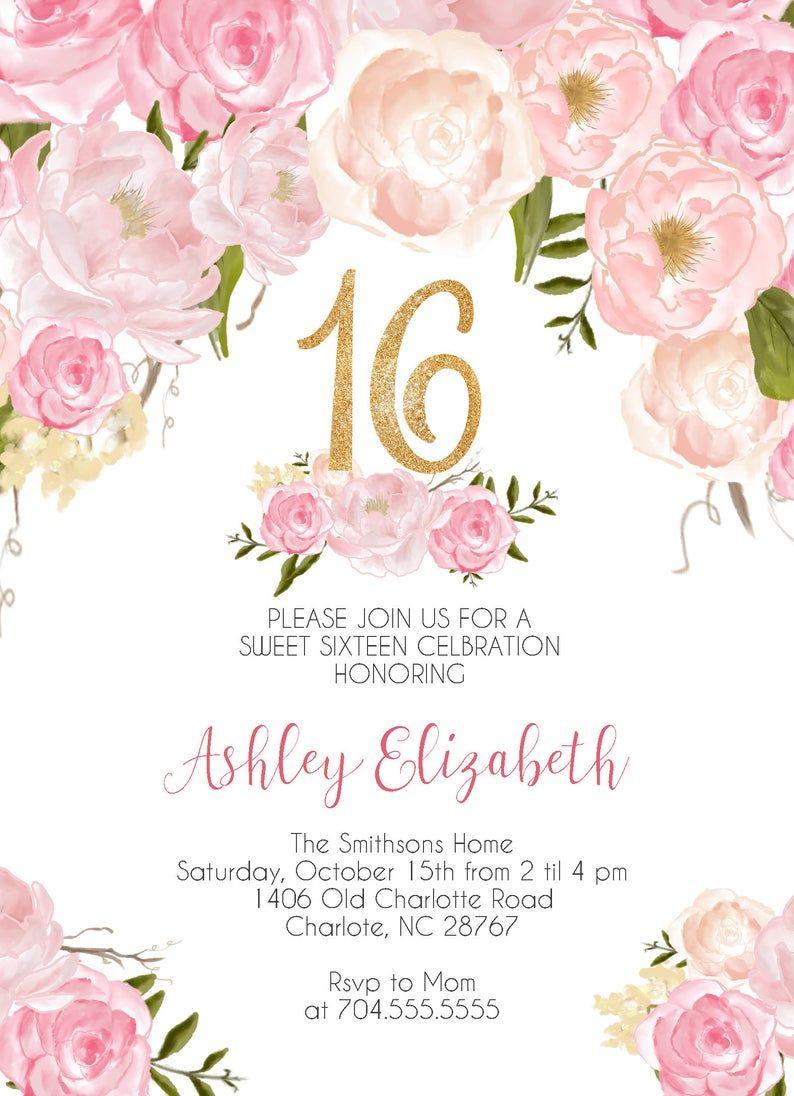 16th bithday party invitation pink coral ombre watercolor watercolor sweet 16 birthday invitation teen birthday digital invitation 151