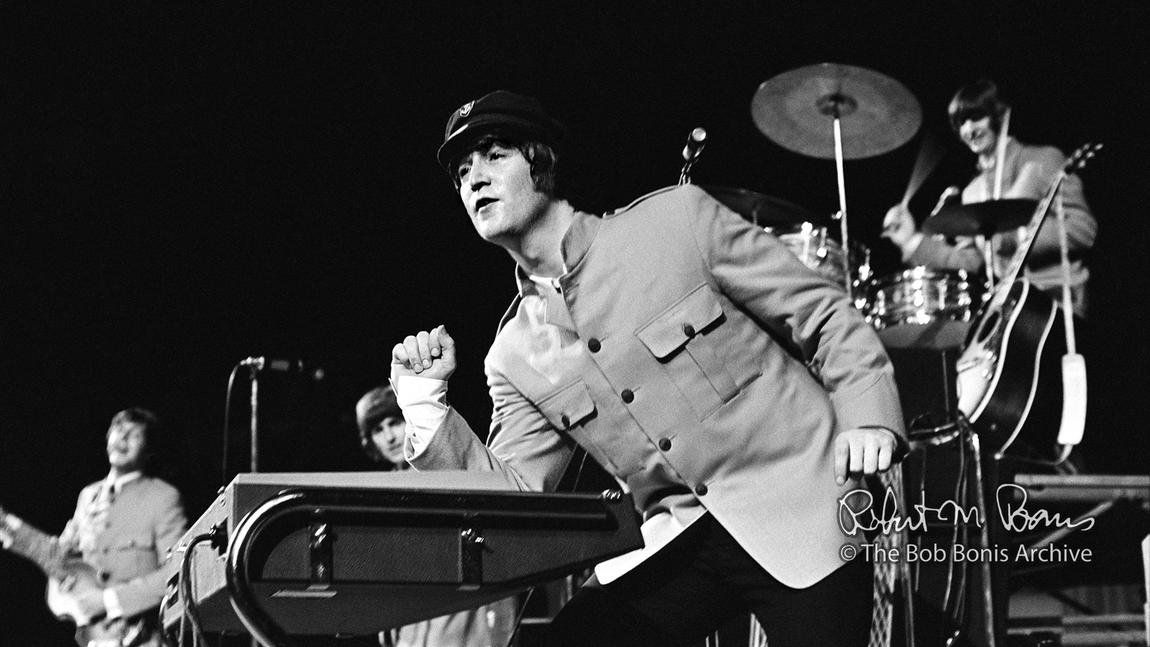 * The Beatles! * Shea Stadium. John doing a Jerry Lee Lewis thing on the keyboards.