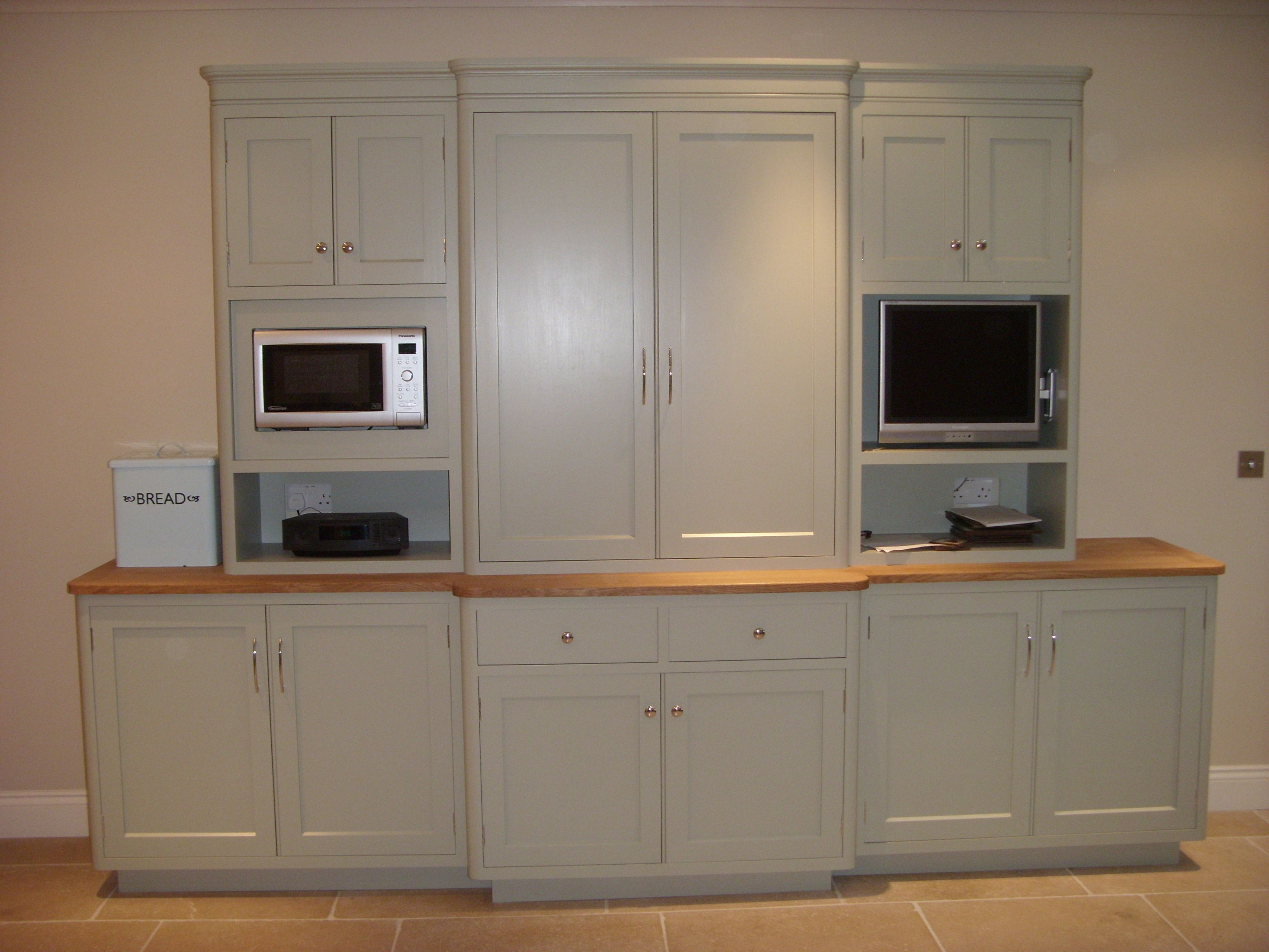 Free Standing Cabinet With Integrated Microwave Computer And Tv