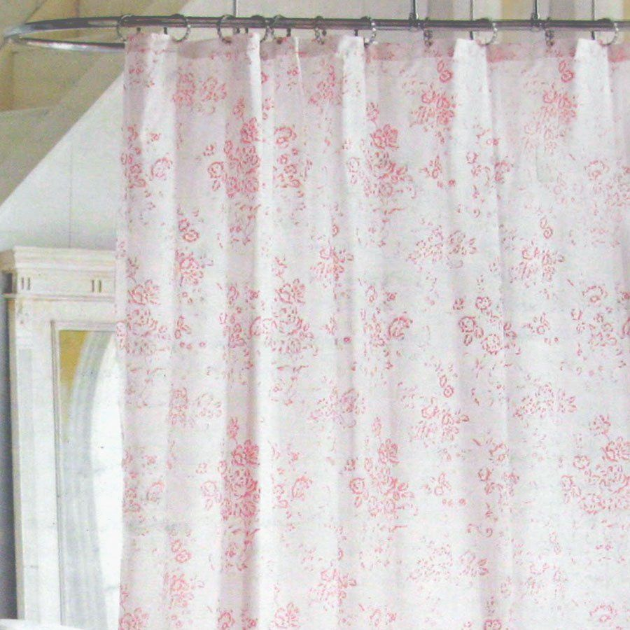 Target bathroom accessories shower curtains - Simply Shabby Chic Pink Floral Toile Cottage Cabbage Rose Shower Curtain Target