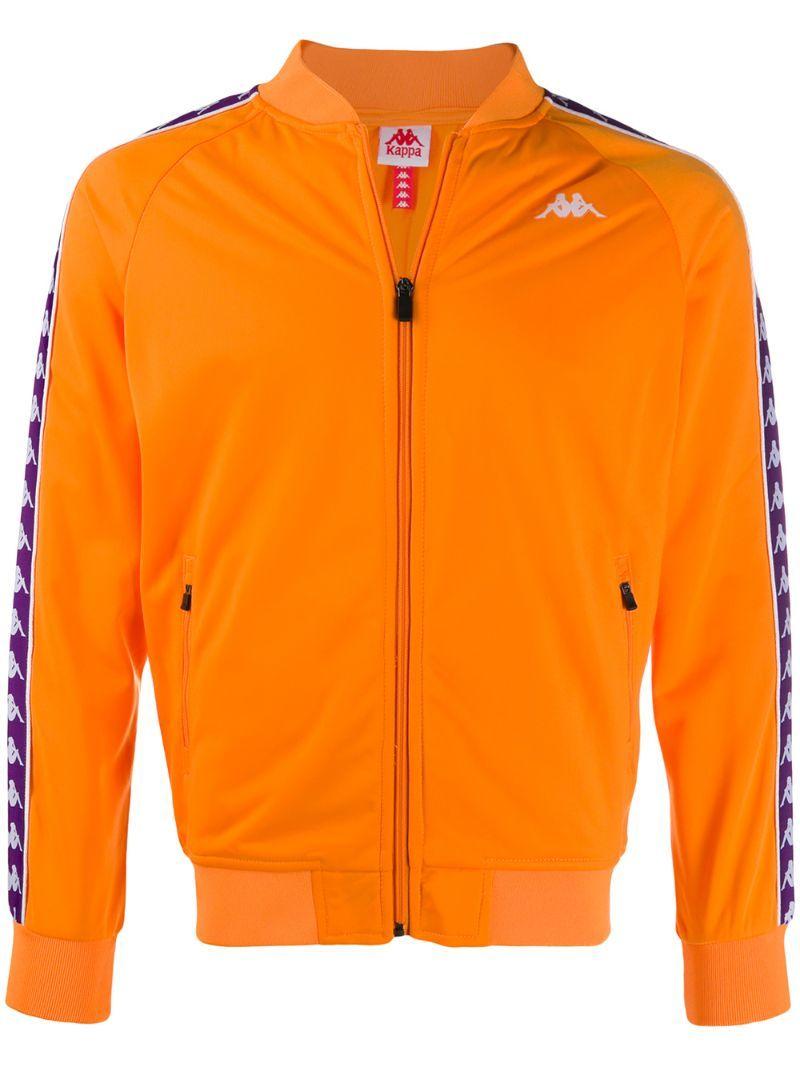 Kappa Printed Logo Bomber Jacket In Orange Modesens Bomber Jacket Jackets Print Logo [ 1067 x 800 Pixel ]