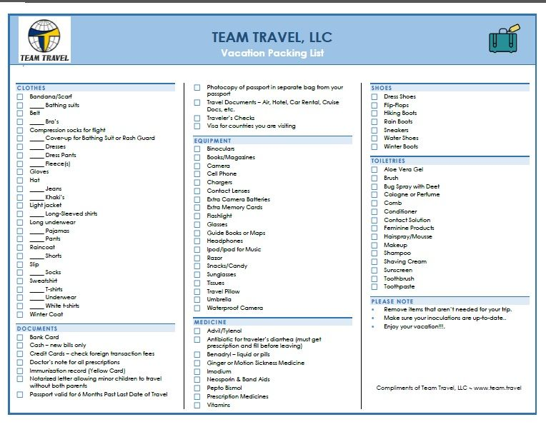 Latest Packing List from Team Travel - Visit us at wwwteamtravel - packing checklist template