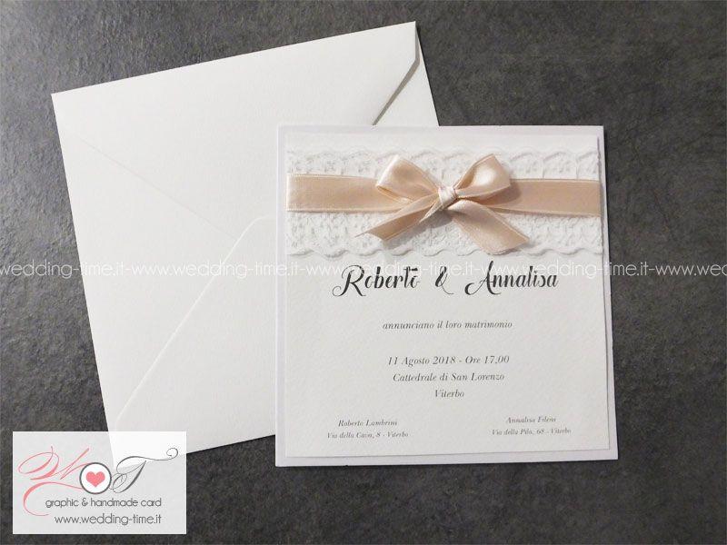 Partecipazione Matrimonio Elegante Realizzata Con Doppio Cartoncino E Fascia Decorativa Con Pizzo E N Cartoleria Per Matrimoni Inviti Di Nozze Pizzo Matrimonio