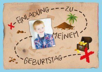Schatzsuche Einladung Mit Foto In Form Einer Schatzkarte