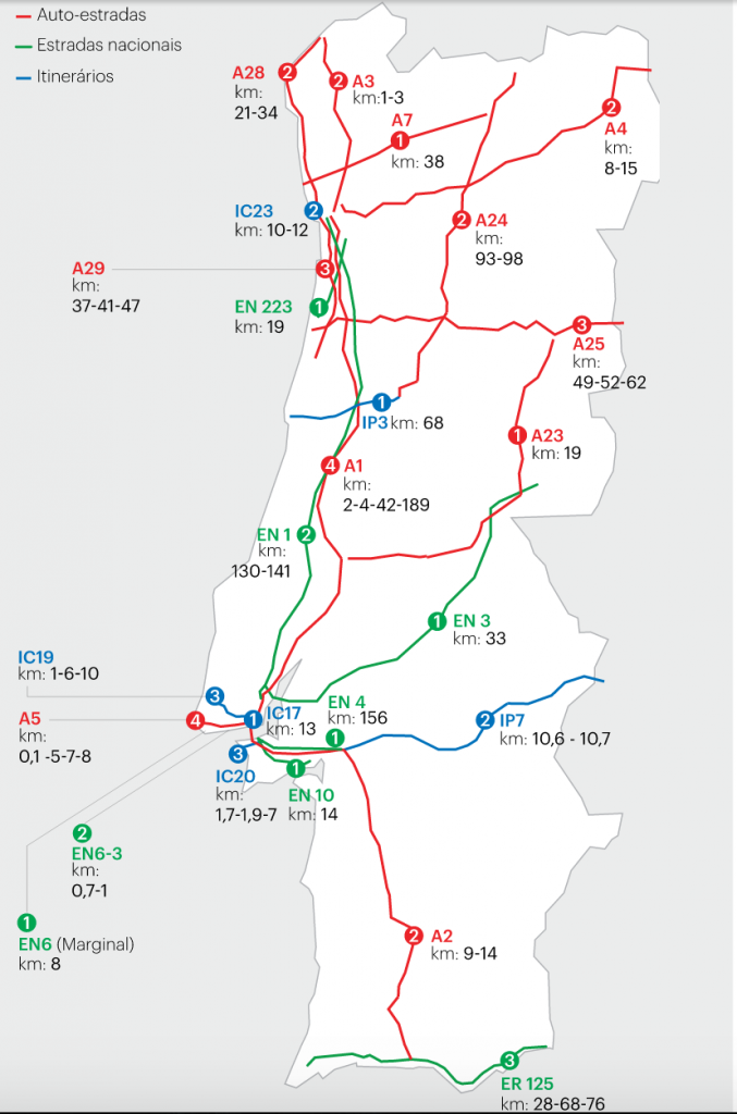 a2 mapa Mapa localização dos radares fixos de Portugal | Coisas  a2 mapa