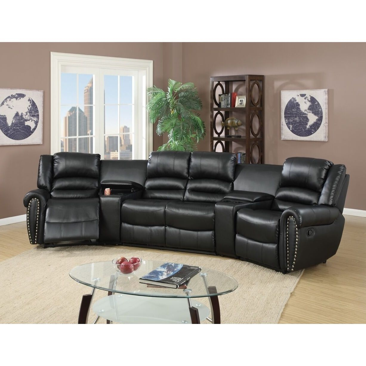 Poundex Auvinya Motional Home Theater Bonded Leather Sectional (B