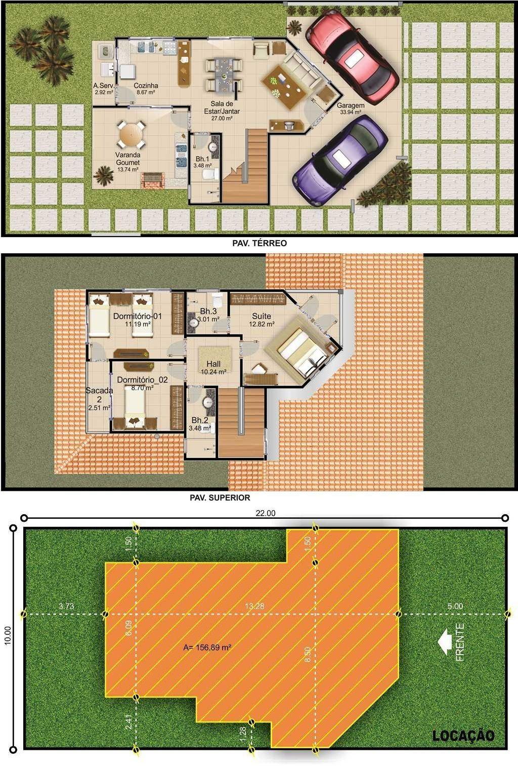 Projetarcasas Planta De Casas Projeto De Sobrado 3 Quartos E