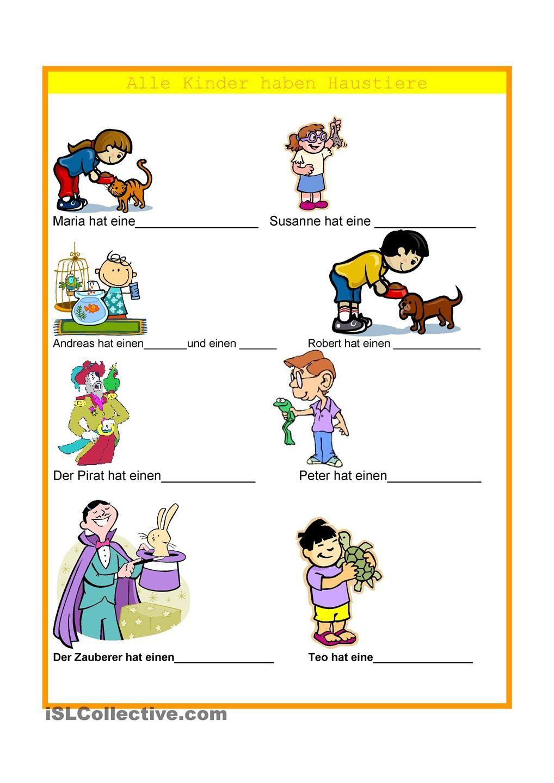 Alle Kinder haben Haustiere | němčina | Pinterest | Haustiere ...