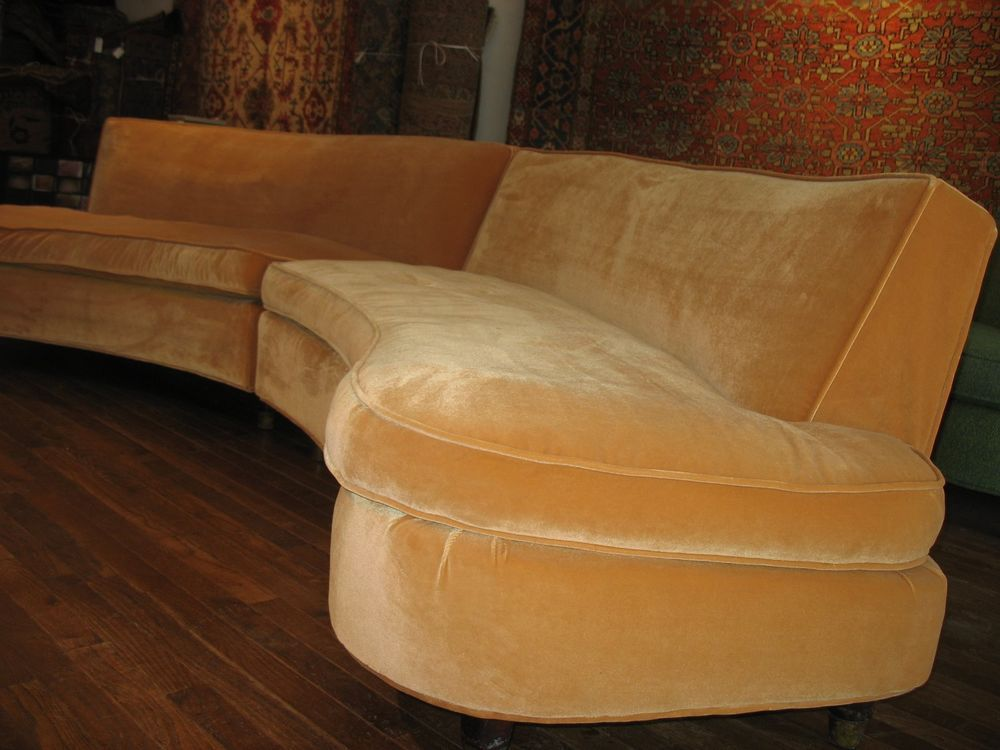 Phenomenal Vintage Curved Mid Century Modern Sectional Sofa Harvey Bralicious Painted Fabric Chair Ideas Braliciousco