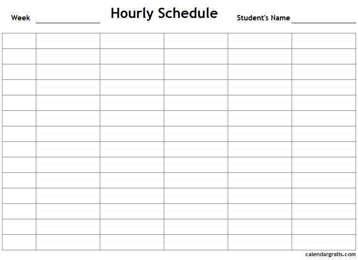 Printable hourly calendar Useful