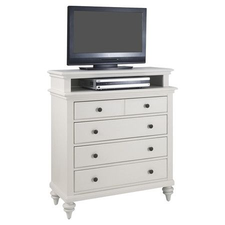 Four Drawer Dresser With An Open Top Compartment And Turned Feet