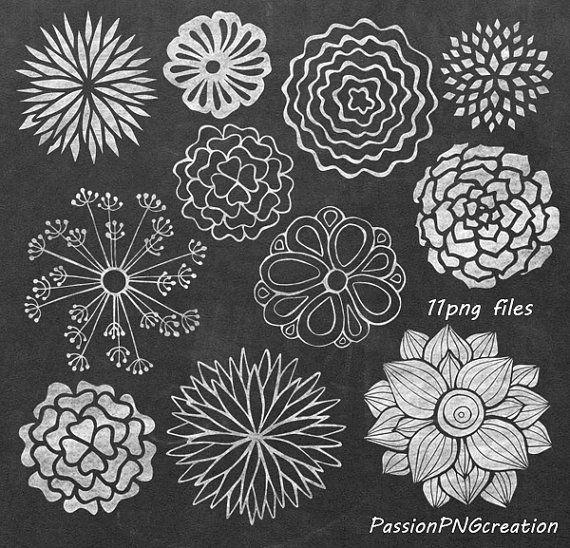 Big Set Chalkboard Flowers Clipart Hand Drawn Flowers Png Etsy Summer Chalkboard Art Chalkboard Flowers Chalkboard Art
