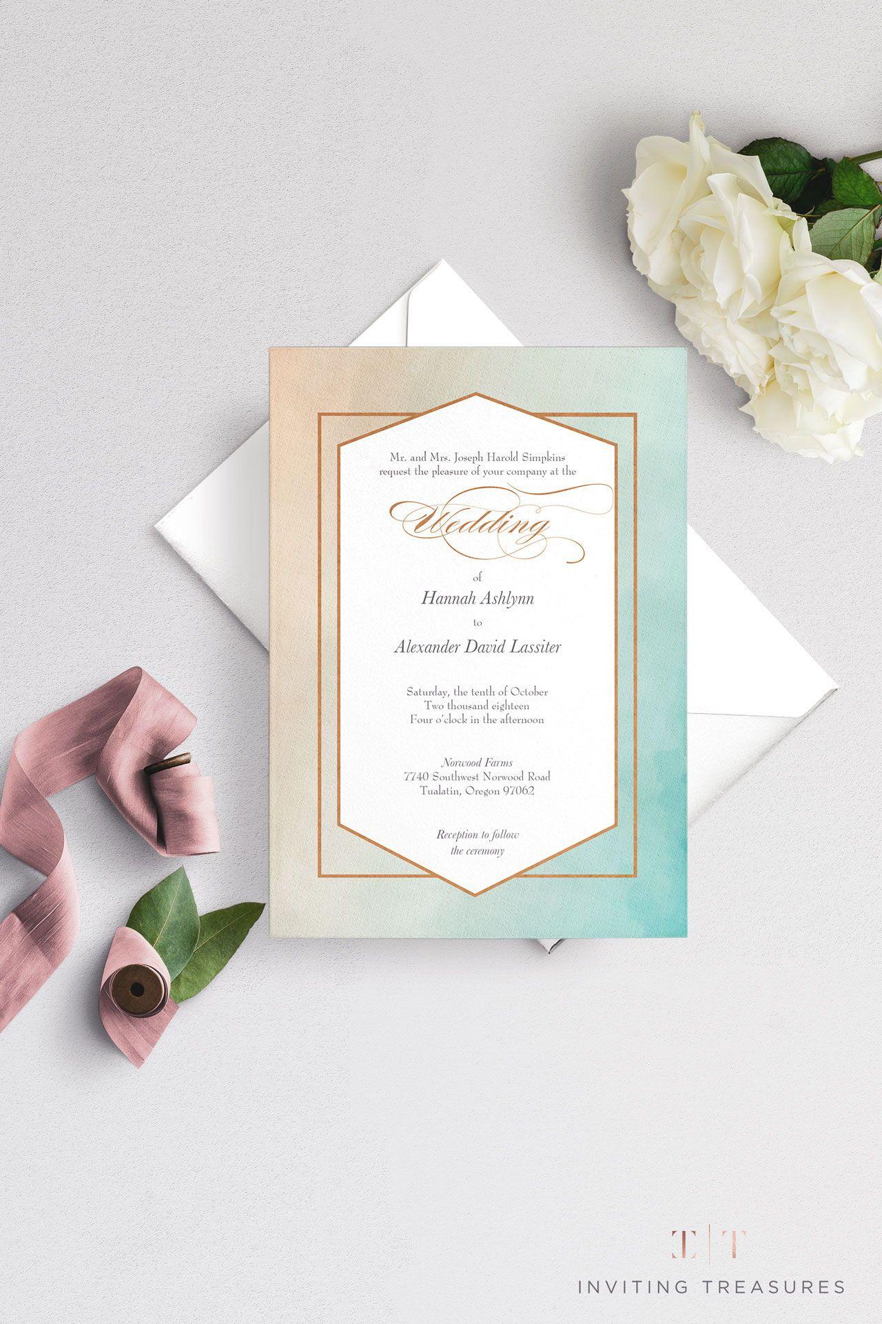 Metallic Ombre Foil Pressed Invitation Simple Wedding Invitations Making Wedding Invitations Wedding Invitations