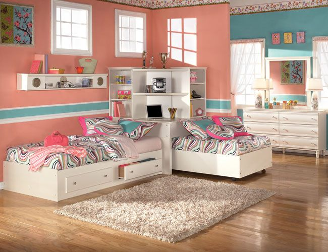 The Furniture Kids Bedroom Set With Two Twin Beds And Corner Bookcase Mi