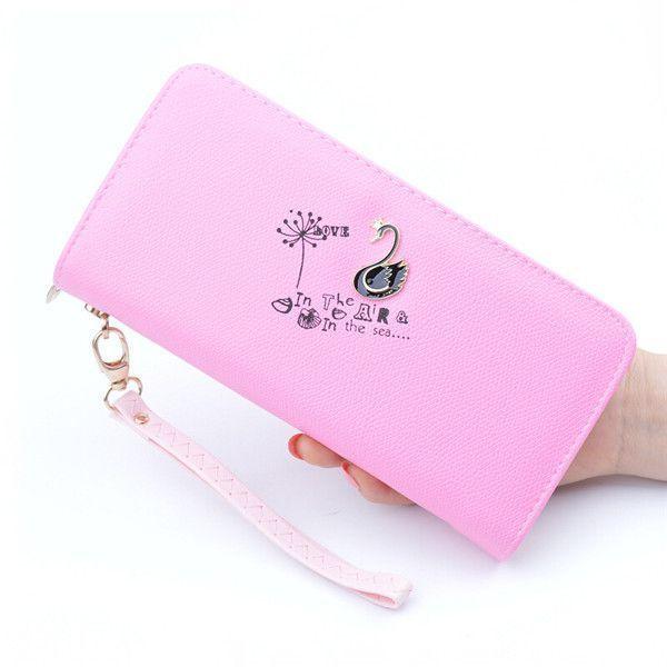 Women Swan Zipper Long Wallets Candy Color Clutches Bags