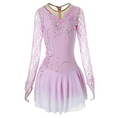robe de patinage artistique femme fille patinage robes rose pale bleu ciel fleur teinture. Black Bedroom Furniture Sets. Home Design Ideas
