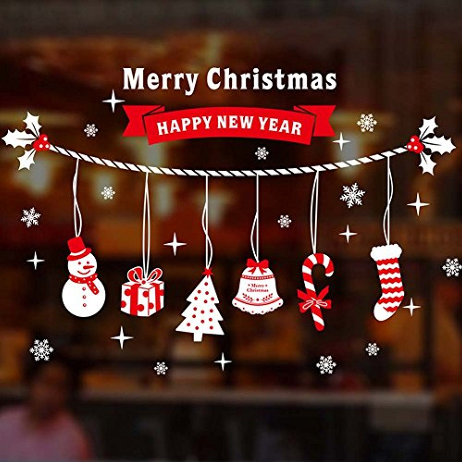 Déco Murale Diy Christmas Windows Stickers Removable Vinyl Diy Wall Glass