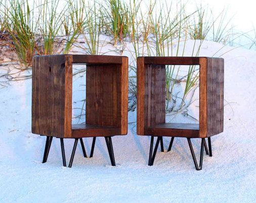 hairpin legs side tables night stands Pair of end tables reclaimed wood industrial side tables entry tables plant stands