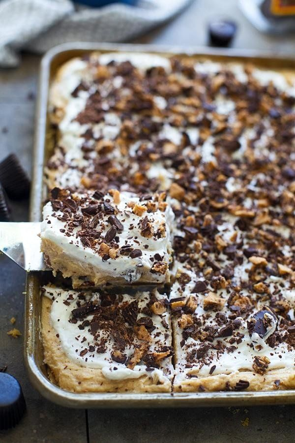 Easy Slab Pies for a Crowd: Dark Chocolate Peanut Butter Cup Slab Pie