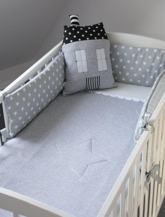 Baby Cot Bumper Grey Cot Bumper Stars Bumper Stripes