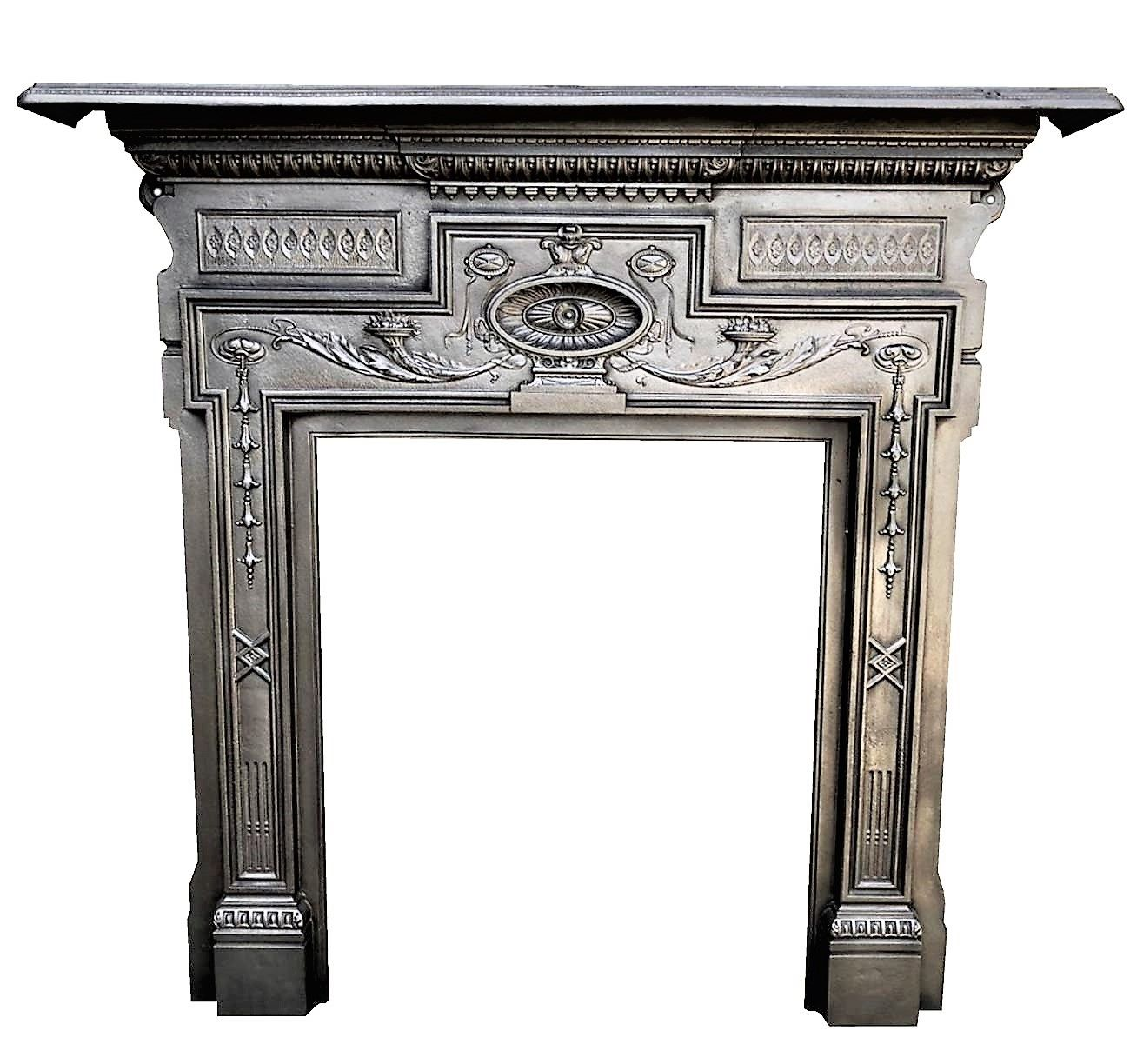 A Stunning Semi Burnished Victorian Cast Iron Fireplace Or Stove Surround Victorian In 2020 Antique Fireplace Surround Antique Fireplace Mantels