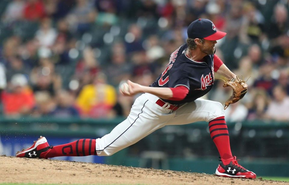 Cleveland Indians relief pitcher Adam Cimber pitching