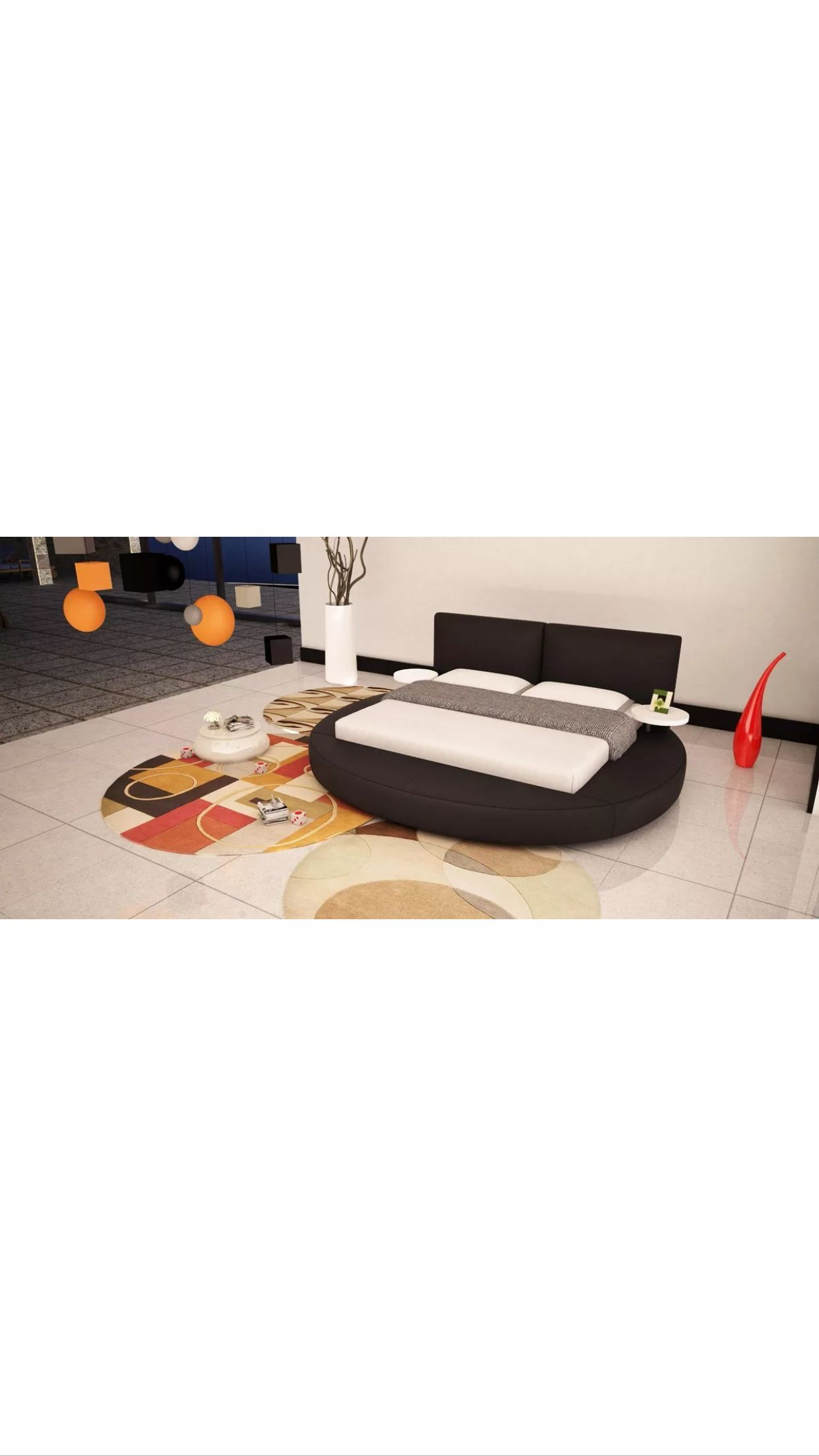 Rotondo Modern Eco Leather Round Bed w LED Lights